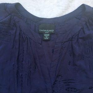 Cynthia Rowley Tops - 🎃 Cynthia Rowley Navy Long Sleeve Blouse Button